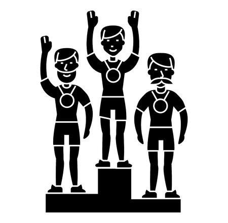 Winnaar podium sportteam - eerste plaats - olympics pictogram, illustratie, vector teken op geïsoleerde achtergrond
