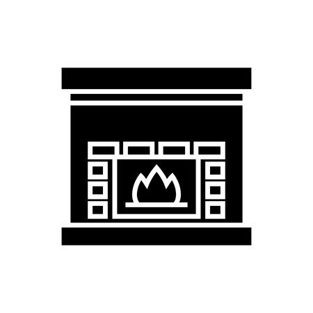 Fireplace - hearth icon, illustration, vector sign on isolated background Illustration