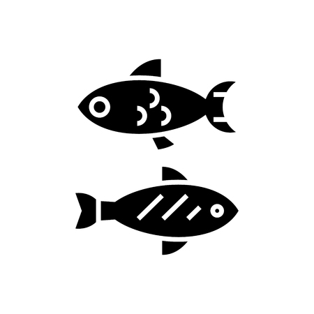 Fish - small icon, illustration, vector sign on isolated background Ilustração