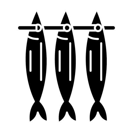 물고기 건조 아이콘, 그림, 벡터 격리 된 배경에 서명 일러스트