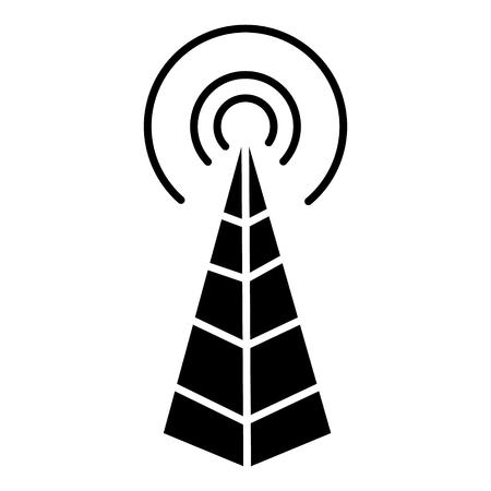 Antena de freqüência - ícone da torre de rádio, ilustração, sinal vector sobre fundo isolado Foto de archivo - 88107023