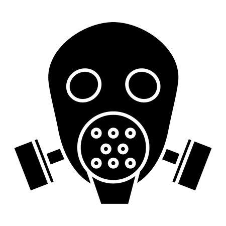 gas mask respirator  icon, illustration, vector sign on isolated background