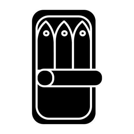 Vis conserven pictogram, illustratie, vector teken op geïsoleerde achtergrond