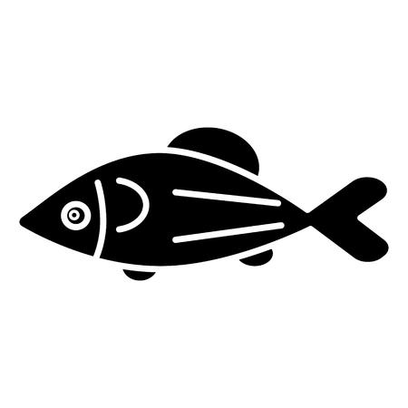 Poisson icône de saumon, illustration, signe de vecteur sur fond isolé Banque d'images - 88107063