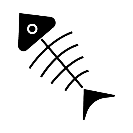 fish Skeleton  icon, illustration, vector sign on isolated background