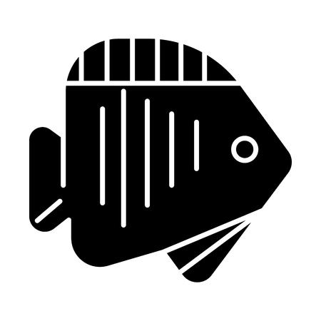 물고기 열 대 아이콘, 일러스트, 벡터 격리 된 배경에 서명