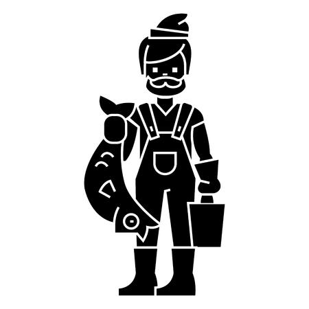 Pescador con icono de pescado, ilustración, vector, signo, fondo aislado Foto de archivo - 88107066
