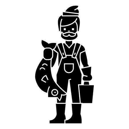 fisherman with fish icon, illustration, vector sign on isolated background Illustration