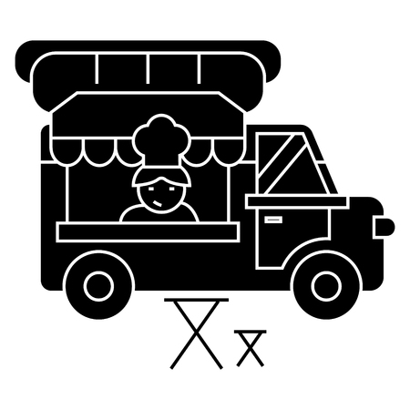 food truck - street food - mobile kitchen icon, illustration, vector sign on isolated background