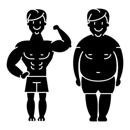 fitness - voor en na - sterke man - dikke kerel pictogram, illustratie, vector teken op geïsoleerde achtergrond