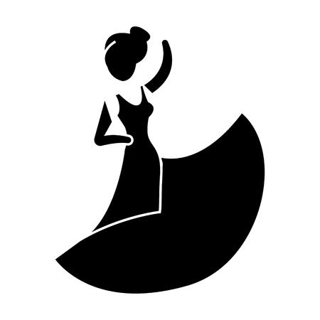 flamenco danser pictogram, illustratie, vector teken op geïsoleerde achtergrond Stock Illustratie
