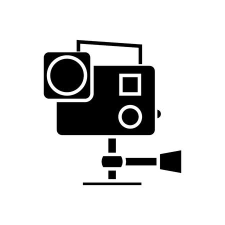 프로 비디오 카메라 아이콘, 일러스트 레이 션, 벡터 이동 격리 된 배경에 서명