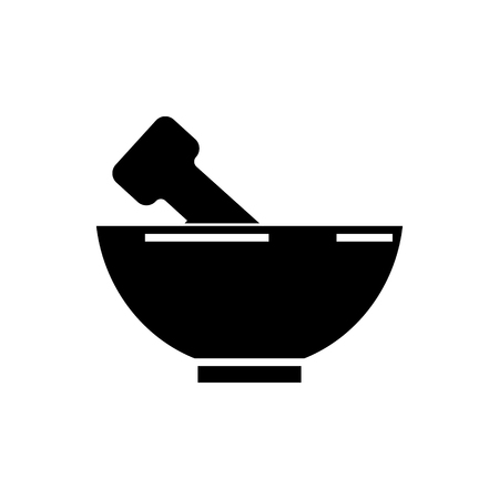 mortar and pestle icon, illustration, vector sign on isolated background