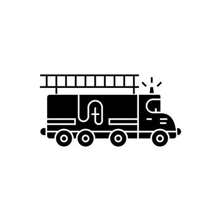 Camion de pompiers - icône de la voiture, illustration, vecteur signe sur fond isolé Banque d'images - 88115641
