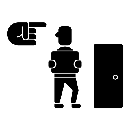 fired - exit - dismissal icon, illustration, vector sign on isolated background