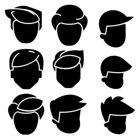 hairs men icon, illustration, vector sign on isolated background Çizim