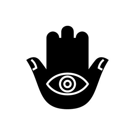 hamsa handpictogram, illustratie, vector teken op geïsoleerde achtergrond