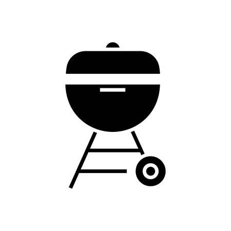 grill charcoal icon, illustration, vector sign on isolated background