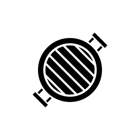 grill round icon, illustration, vector sign on isolated background