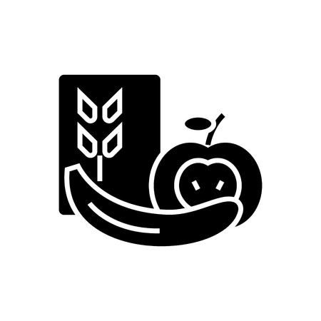 健康食品のアイコン、イラスト、ベクトル分離背景に記号