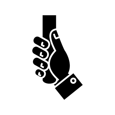handling hand icon, illustration, vector sign on isolated background