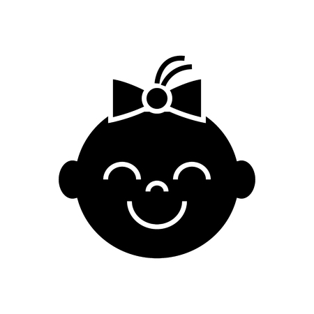 happy girl face icon, illustration, vector sign on isolated background Illustration