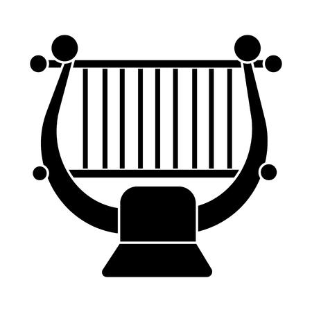 ハープ - 文字列音楽古典的なアイコン、イラスト、ベクトル分離背景に記号  イラスト・ベクター素材