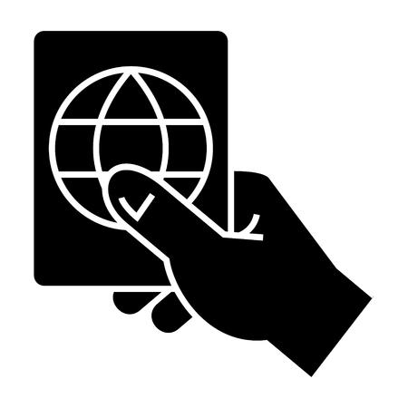 hand met paspoort pictogram, illustratie, vector teken op geïsoleerde achtergrond Stock Illustratie