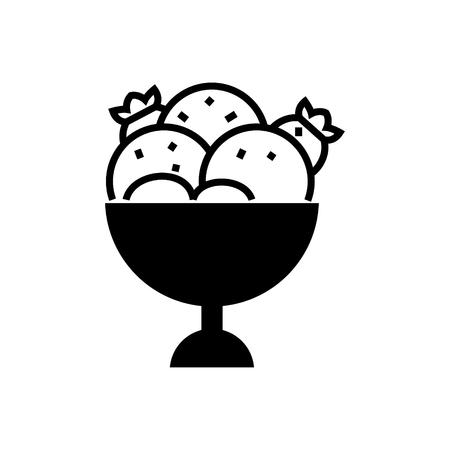 Icona della ciotola del gelato, illustrazione, segno di vettore su fondo isolato Archivio Fotografico - 88152787