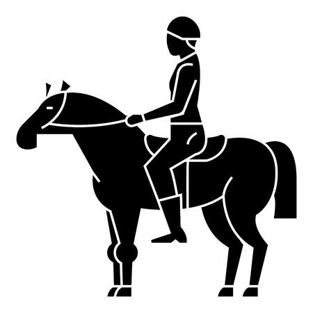 Course de chevaux - cavalier - cavalier - jockey icône, illustration, signe de vecteur sur fond isolé Banque d'images - 88152799