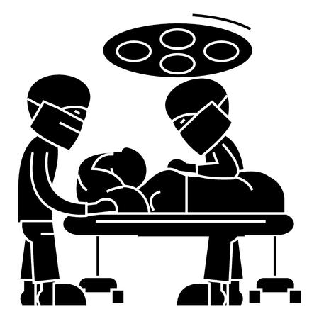 sala de operaciones del hospital con médicos - sala de cirugía - icono de operación de cirugía, ilustración, signo de vectores en el fondo aislado Ilustración de vector