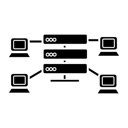 hosting - network servers icon, illustration, vector sign on isolated background