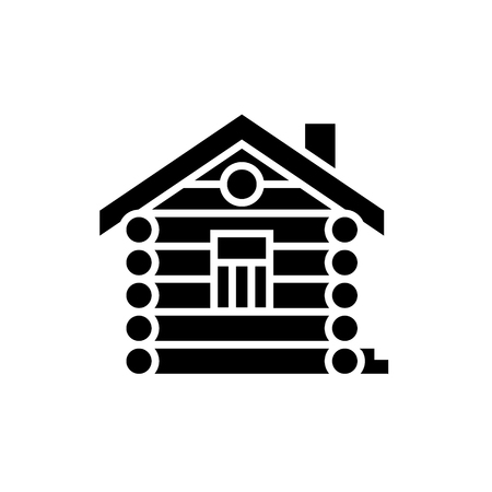 house - cabin - wood house icon, illustration, vector sign on isolated background Çizim