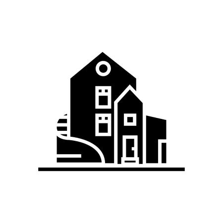 家 - ラグジュアリー - 戸建マンション アイコン、イラスト、ベクトル分離背景に記号
