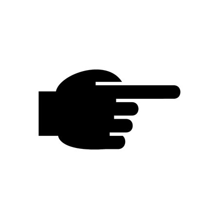 hand pointing finger front icon, illustration, vector sign on isolated background Çizim