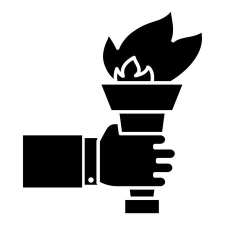 손을 화재 성화 - 목표 아이콘, 그림을 달성, 벡터 격리 된 배경에 서명