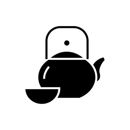 kettle and cup - tea ceremony icon, illustration, vector sign on isolated background