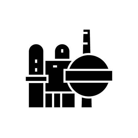 industry - oil refinery icon, illustration, vector sign on isolated background