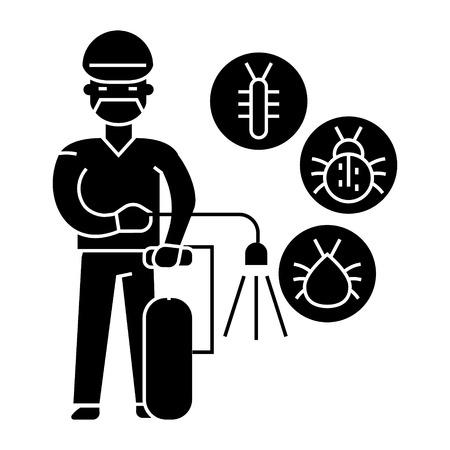昆虫サービス アイコン、イラスト、ベクトル分離背景に記号  イラスト・ベクター素材