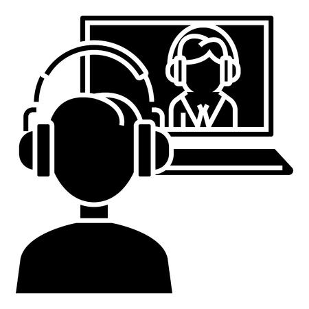 インタビュー オンライン - オンライン学習 - 学校アイコン、イラスト、ベクトルのサインオン孤立の背景