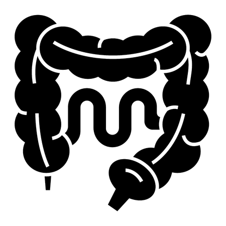 intestines icon, illustration, vector sign on isolated background