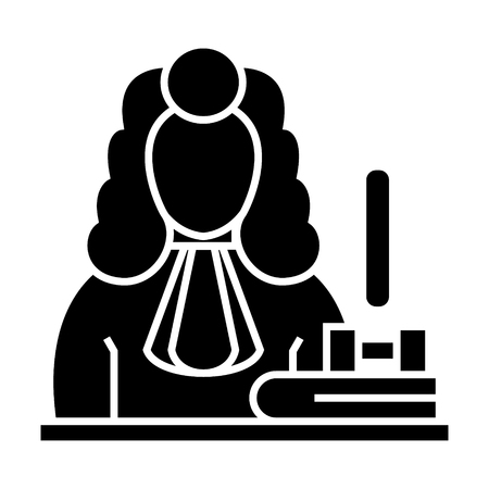裁判官 - 小槌アイコン、イラスト、ベクトル分離背景に記号
