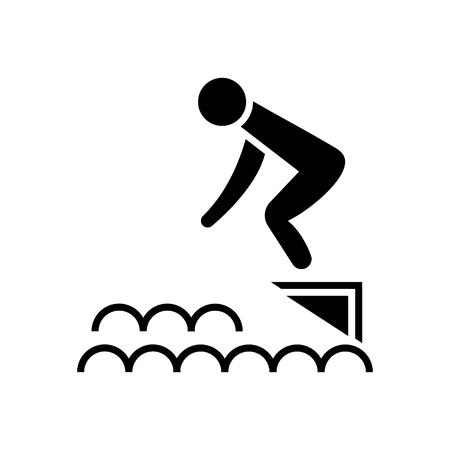 jump in water - swimming pool icon, illustration, vector sign on isolated background Illustration