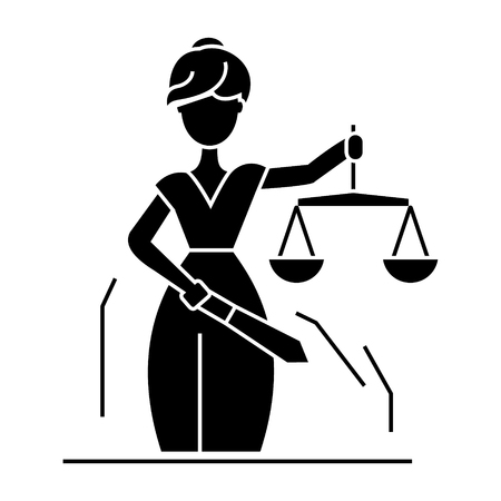 justice statue icon, illustration, vector sign on isolated background Иллюстрация