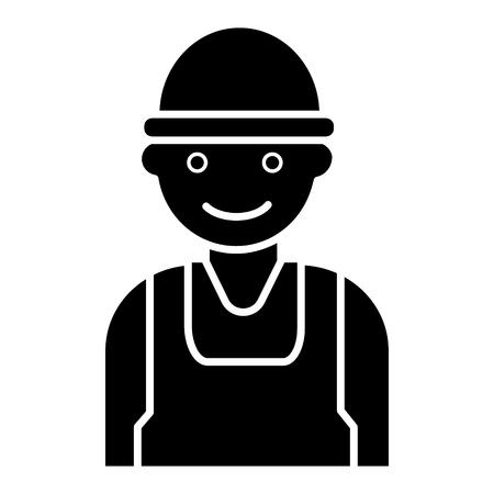 労働人労働者 - ビルダー アイコン、イラスト、ベクトル分離背景に記号