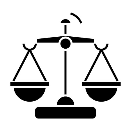 law and justice - scales icon, illustration, vector sign on isolated background Illustration