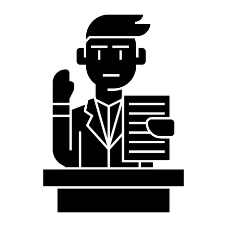 lecturer - speech - professional speaker icon, illustration, vector sign on isolated background Çizim