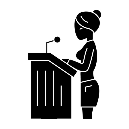 lawyer woman - speech in court icon, illustration, vector sign on isolated background
