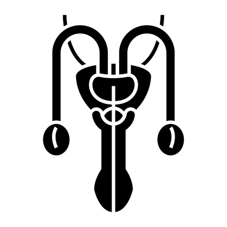 Male organs icon, illustration, vector sign on isolated background