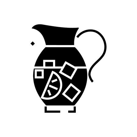 レモネード ピッチャー - サングリア - bewerage アイコン、イラスト、ベクトル分離背景に記号  イラスト・ベクター素材